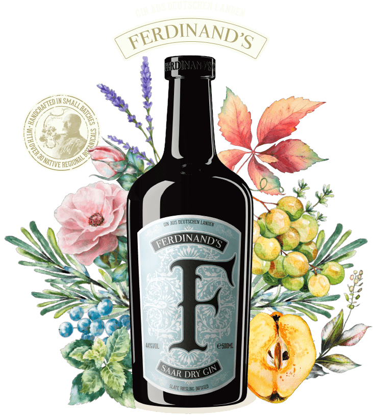 Flasche des Gins mit Botanicals und Handcrafted-Siegel mit Forstmeister Geltz-Zilliken